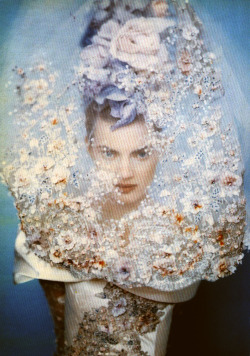 Guinevere van Seenus, wearing Christian Lacroix Spring 1996 Haute Couture by Paolo Roversi for Vogue Italia