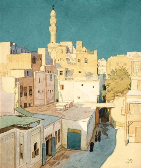 jardinboutanique:  Ivan Bilibin - Cairo 1921  Born in 1876 in Saint Petersburg, Ivan Yakovlevich Bilibin was a Russian illustrator and stage designer. Bilibin is part of the 'Art Nouveau' artistic period. He died in 1942.