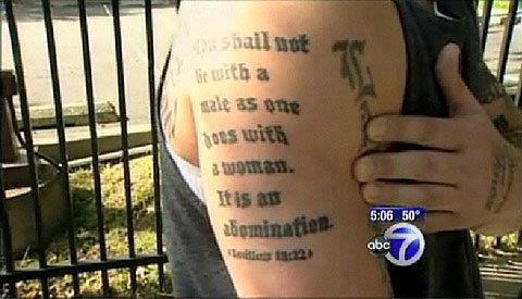 icantbelieveitsalawblog: Tattoo of Leviticus 18:22 forbidding homosexuality: $200Not knowing that Leviticus 19:28 forbids tattoos: Priceless