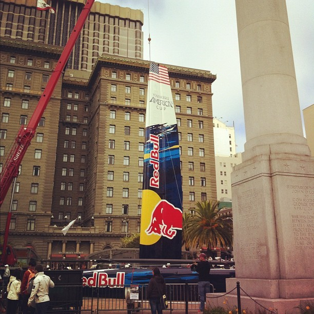 Where is this @redbull #AC45? Union Square #sanfrancisco! #americascup #givesyouwings  (Taken with instagram)
