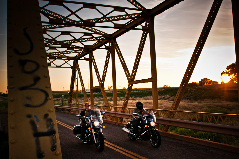 Kurt and Nick riding across Crybaby Bridge outside of Elk City on the western edge of Oklahoma.  Photo by Tim Jarosz