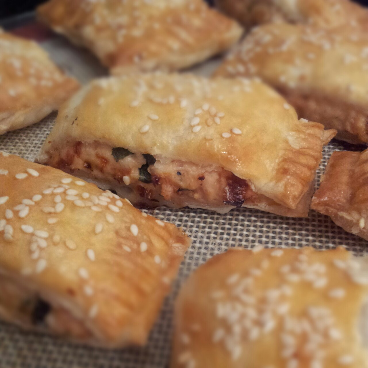 Sausage rolls with chivken, sundried tomatoes and badil
