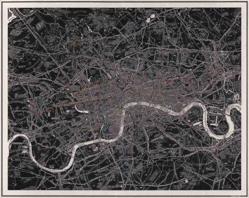 Stephen Walter's London Subterranea, another art map featured in Claire Dobbin's book (and one of her choices of the best maps in the London Transport Museum collection). It's been posted to io9 and Londonist today, with the latter providing close-ups along with a a good description:  Walter has painstakingly charted the buried rivers, Tube lines, bunkers, sewers, government tunnels and other hypogeal secrets of London. He's also included mysterious and underworld elements, such as unsolved murders, ley lines and pagan burial sites. Like his famed 2008 work The Island, to which this is a companion piece, London Subterranea is a mesmerising tagliatella, combining painstaking research with artistic whimsy.  As they note, it'll be displayed at the London Transport Museum's Mind the Maps Friday Late tomorrow.