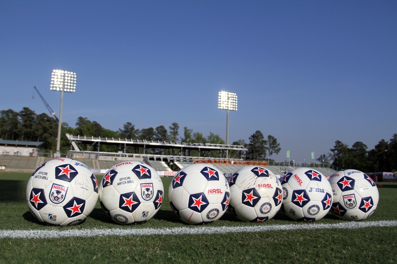 xiquarterly:   14 April 2012: Match balls are set up for pregame warmups. The Carolina RailHawks played the Atlanta Silverbacks to a 4-4 tie at WakeMed Soccer Stadium in Cary, NC in a 2012 North American Soccer League (NASL) regular season game.  Photo by Andy Mead/YCJ