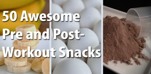 Pre-workout snacks 1. Protein Creamcicle: Put a twist on the classic kids' treat by blending 1 scoop vanilla whey protein powder, 1 cup orange juice, and 1 cup ice. Trainer and fitness expert @JCDFitness does it! 2. Fruitsation shake: Blend 1 scoop of your favorite whey protein flavor with ½ cup ice, and 1 cup frozen berries for a sweet energy boost, suggests strength coach @Roglaw. 3. Cha-Cha coconut shake: Infuse 1 scoop chocolate whey protein with 2 teaspoons of extra virgin coconut oil. Girls Gone Strong co-founder @JenComasKeck loves this! 4. Star-buffs shake: Need a pre-workout pick-me-up? Greatist's fitness editor suggests blending 1 cup iced coffee (keep the ice) with 1 scoop chocolate whey protein. 5. Dressed up oats: Load up on carbohydrates for a longer workout with ½ cup cooked steel-cut oats topped with 1 tablespoon dried fruit and 1 tablespoon shaved almonds. 6. Perfect yogurt parfait: Feeling fancy, huh? Top ¼ cup nonfat yogurt with ½ cup whole grain cereal and ½ cup fresh strawberries. 7. Yoberries a-go-go: For the perfect blend of carbs and protein, try 1 cup non-fat vanilla beanGreek yogurt — which often packs more protein and probiotics than regular plain yogurt — with ½ cup fresh blueberries. 8. Eggs n' toast: Have a heartier appetite? Try 1 or 2 hard-boiled eggs with 1 slice of whole-wheat toast. 9. Fruit and Cottage: Top ½ cup cottage cheese — a low calorie and higher protein option — with ½ cup fresh pineapple, berries, or melon. And voila! 10. PB Apple: For a quick carb fuel-up, slice 1 medium apple and serve with 2 tablespoons all-natural peanut butter. 11. Classic fruit cup: Prefer to keep it sweet but simple? Combine 1 cup berries, melon, banana, and oranges — oh my! 12. Dried fruit: For a quick pre-workout fix, try ¼ cup serving of dried berries, apricots, and pineapple, says Greatist Expert Jessica Redmond. 13. Fruit leather: Need something light that makes you feel like a kid again? Try 1 single serving of fruit leather. Have a little extra time? Roll some out in the kitchen. 14. Energy in a bar: With so many options in the aisle, try opting for a bar with the most naturalingredients. While protein count is key, also check the sugar content (it shouldn't rival what's found in the candy aisle!). 15. Chicken n' sweets: For a fast bite, grab 2-4 ounces (or a palm-sized amount) of sliced chicken with an equal portion size of sweet potatoes, suggests Greatist Expert Dan Trink. 16. Oats n' eggs: Not just for breakfast, try ½ cup cooked oatmeal and 2 whole eggs seasoned with salt and pepper. 17. PB & B toast: Fuel up with 1-2 tablespoons of all-natural peanut butter and half a sliced banana on whole-wheat toast, says Greatist Expert Lisa Moskovitz. 18. Turk-cado pasta: Add 2-4 ounces (or a palm-sized amount) of roasted turkey and 3-4 avocadoslices to ½ cup cooked whole-wheat pasta for some enviable eats. 19.  Wafflewich: Spruce up this classic by combining 1 frozen Kashi waffle with 2 teaspoons of almond butter and 1 teaspoon of jam. 20. Better than a PB Cup: A half-cup cooked oats with 1 teaspoon defatted peanut flour, a dash ofstevia, and a sprinkling of cocoa powder on top — a concoction from the kitchen of Greatist contributor David Butler. 21. Veggie omelet: Add a little more color to your diet by combining 2 whole eggs shaken with 1 teaspoon of water cooked with 1 cup sautéed seasonal veggies. 22. Rice con leche: Got a long way to run? Fuel up with ½ cup cooked rice, covered with ½ cup milk, a scatter of raisins, and a dash of cinnamon on top. 23. Sports drink: An 8-ounce low sugar sports drink (keep it under 10 grams of sugar) will do the trick if you're in a crunch. For a little more fuel, add a scoop of BCAA powder— branch chain amino acids that help maintain muscle and tissue health[1]. 24.  Hearty salad: Need some greens? Try 1 cup of salad greens with assorted veggies, 1 hardboiled egg, and a drizzle of EVOO and vinegar, or your favorite low-fat dressing. 25. Energy gel: Got a long way to go? Slurp down a energy gel (like Gu) prior to an endurance workout. Post-workout snacks 26. Protein pancakes: From the kitchen of Greatist contributor Laura Skladzinski, mix 4 egg whites, ½ cup rolled oats, ½ cup low fat cottage cheese, 1/8 teaspoon baking powder, and ½ teaspoon pure vanilla extract. Cook on preheated griddle (medium low heat) until it bubbles, then flip and cook another 30-60 seconds. Top with fresh berries or sliced banana. 27. Sweet potato pie shake: This isn't your grandma's recipe. Combine 1 scoop of cinnamon bun whey protein, ¼ cup diced cooked sweet potato, 1 cup of ice, and 1 cup vanilla almond milk in the blender — a Kellie Davis original. 28. Chunky Monkey shake: Monkey around with 1 medium banana, 1 tablespoon peanut butter, and 1 cup low-fat chocolate milk blended with ice. 29. Double G shake: Aussie strength coach @Rachel_Guy1 recommends an 8-ounce greens drink (any superfood blend found at most health food stores) with 1 scoop of glutamine. 30. Double Trouble shake: To lengthen the delivery time of nutrients to your muscles, combine ½ scoop of whey protein blended with ½ scoop slower-digesting casein protein, plus a handful of your favorite fresh or frozen fruit. 31. Bananarama: One medium sliced banana with 1 cup low fat milk — it doesn't get any easier than this! 32. Protein bar: For a quick, store-bought fix, feed those muscles with a protein bar. Just watch the sugar content. Look for bars with 10-30 grams of protein, less than 10 grams of sugar, and the fewest number of ingredients you can't pronounce! 33. Beef and squash: Need something hearty? Try a handful of lean roast beef with an equal portion of butternut squash. 34. Tuna crackers: Mix up a batch of light tuna salad for a quick bite. Add two heaping spoonfuls to a handful of whole grain crackers, and chomp away. 35. Bagel with egg whites: Half a medium-sized whole grain bagel with 2 eggs whites makes a great post-workout sandwich. 36. Ants on a raft: The ants go marching… Spread a heap of natural peanut butter over a brown rice cake and top with raisins. 37. Milk and cereal: Any time is a good time for cereal. Add 1 cup of low-fat milk to 1 cup of whole-grain cereal. Nosh loudly. 38. Chocolate milk: One to two cups of low-fat chocolate milk seals the deal with extra carbs and protein. 39. Black bean omelet: Four eggs whites, 1 ounce low-fat cheese, and ¼ cup canned black beans — then spice it up with a savory salsa, if you dare. 40. Green Monster smoothie: Blend 4 cups spinach, ½ cup vanilla bean yogurt, 1 cup almond milk, 1 banana, and 1 tablespoon peanut butter with ice — a favorite of Greatist contributor Claudia Morgan via Iowa Girl Eats. 41. Cottage cheese crunch: One cup fat-free cottage cheese, 1 teaspoon honey, ½ cup whole-grain cereal, and a dash of cinnamon does a body good. 42. Eggy muffinwich: Ditch the fast-food and opt for 1 whole egg, fresh spinach, 1 slice low fat cheese, and 1 slice Canadian bacon served on an English muffin, suggests Greatist contributorLisa LaValle Overmyer. 43. BCAA n' cakes: When in doubt, just add cakes! Pair up two scoops of BCAA powder mixed in ice water with two rice cakes. 44. Recovery in a bottle: When time is of the essence, grab a store-bought recovery drink to sip on after training. Just check the label — sports recovery drinks will provide plenty of carbs refuel, or opt for aminos to really rebuild. 45. Apples and cheese:  Tease your taste buds with 1 medium sliced apple and 1 stick of low-fat string cheese. 46. Pita and hummus: One 7-inch pita with two spoonfuls of  hummus adds a little pep back to your step with quick digesting carbs. 47.  Egg scramble: Veg out after a hard training session with 2-3 whole eggs scrambled with a handful of chopped onion, spinach, and bell peppers. 48. Choco-tropical trail mix: Go bananas for a blend of ½ a handful of each: macadamia nuts, dried coconut, dark chocolate chips, and banana chips. 49. AB & J Rice Cakes: Almond butter takes the cake. For this healthier twist on the classic PB & J, sandwich 1 tablespoon of almond butter and 1 teaspoon of strawberry jam between two rice cakes. 50. Chicken hash: After your workout grab 1 cup cooked diced chicken, ½ cup butternut squash and apples, roasted in olive oil, salt, and pepper. Make a big batch and store it in the fridge!