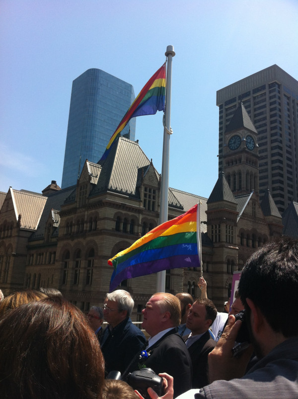 Mayor Rob Ford makes surprise appearance at rainbow flag-raisingToronto's Mayor Rob Ford made an unexpected appearance at a rainbow flag-raising marking the International Day Against Homophobia and Transphobia. (Photo: Natalie Alcoba/National Post)