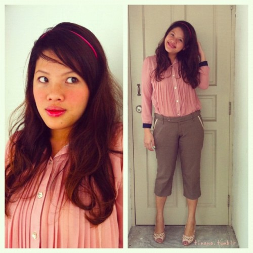 #ootd x #StyleMeMay / see me blush // Topshop's cream blush in Nutmeg is a bronzed pink that's great with my everyday bb cream.  (Taken with instagram)