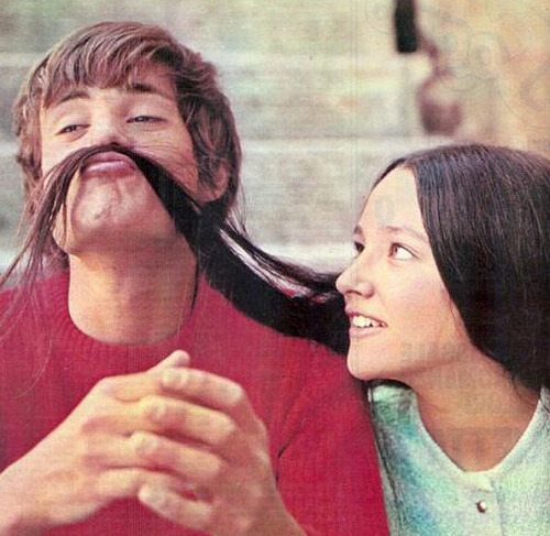 Leonard Whiting and Olivia Hussey on the set of Romeo and Juliet (1968)
