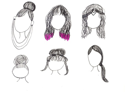 some sketches I did of some hairstyles in my sketchbook