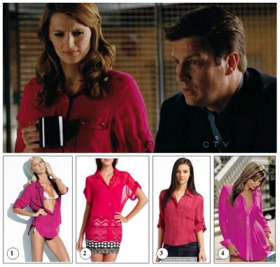 The blouse: This season, we can spot Beckett more than once in a brightly colored top. This time she's wearing a magenta silk  chiffon blouse. Design by: Charlie by Matthew Zink Original price: $298 The episode: 4×22: Undead Again - The only witness to a murder victim with human bite marks on his body insists it was a Zombie attack. Castle, Beckett and the rest of team must delve into New York's Zombie subculture to find the killer. GET THE LOOK ! 1) Purple Resort Shirt by Charlie by Matthew Zink – $298Are you looking to buy Beckett's shirt. Find it here.get it: shopkitson.com  2) Chiffon Button-down Blouse by Charlotte Russe – $21.99From their Call of the Wild collection! This sheer chiffon blouse comes in lovely pink with a full button placket. Fits with short roll-cuff sleeves.get it: charlotterusse.com  3) Silk Chiffon Button-down Blouse by Chelsea Flower – $108.5Pink semi-sheer shirt with dual chest pockets and concealed button closure.   get it: saksfifthavenue.com 4) Silk Chiffon Shirt – $33.75 Silk Chiffon long Sleeve tailored shirt trimmed with solid silk color and cuffs with button-down front.   get it: miaglamourwear.com  http://fashiononcastle.blog.com