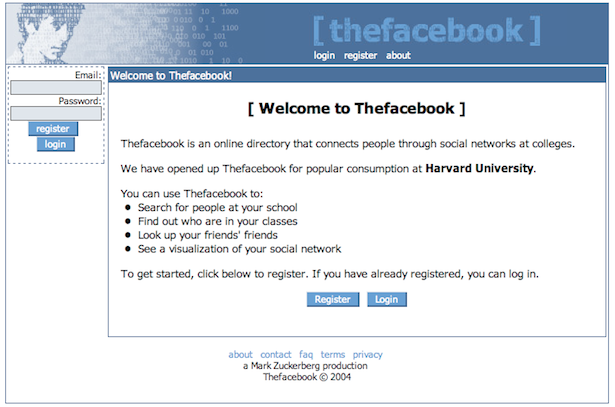 "The Internet at the Dawn of Facebook  Facebook launched in 2004. Today, it has more users than the entire Internet had in 2004. Before Facebook roamed the web, the digital world was dominated by big, bulky websites that assumed they'd stay big and bulky: Microsoft and its Hotmail, Time Warner and its AOL, Ask and its Jeeves. It's striking how much the Internet has changed since Facebook sprinted onto the scene — and more striking still how Mark Zuckerberg's production changed the course of that scene. Back in 2004,  the web had some 50 million sites. (Today, it has more than 600 million.)  the most popular brand on the World Wide Web was Microsoft's MSN. Google was the fifth most popular brand on the World Wide Web, ranking below Yahoo and AOL. people still talked about the ""World Wide Web.""  ""blog"" — defined as ""a Web site that contains an online personal journal with reflections, comments and often hyperlinks"" — was chosen as Merriam-Webster's word of the year. Read more. [Image: Thefacebook, lol]"