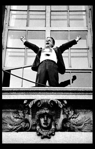 Political rally speaker standing on the ledge of a building, 1956, Chicago. There's no info about who he is…any ideas? The photo is not credited either, although I think it might be Art Shay. Update: Thanks to ghost-of-algren for catching this. The man in the photo is Robert Frank and the photo appeared in theseamericans.com…