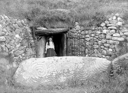 Newgrange passage tomb is one of Ireland's most important and oldest archaeological sites. This photograph was taken before the excavation that uncovered the roof box through which the winter solstice sun lights up the ancient tomb. Format: Glass Negative Date: ca. 1904 - 1910  The interior is amazing but the passage to get there is incredibly claustrophobic.