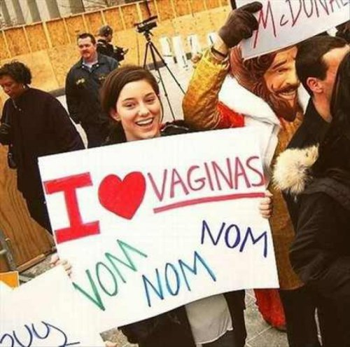 Protester Loves Vaginas She's sure to succeed in her cause with the Burger King at her side.