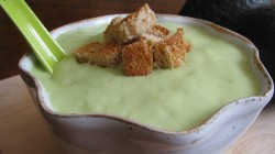 Spicy Avocado Soup with Crunchy Croutons (via How Sweet It Is)