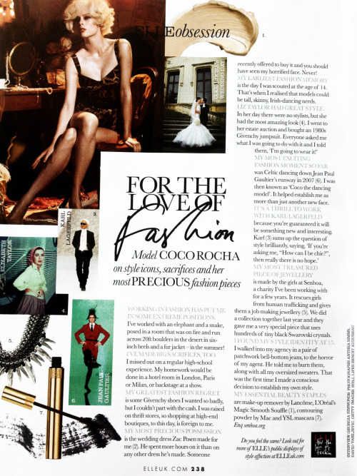 For The Love Of Fashion - Elle UK, June 2012In this article I tell British Elle my biggest fashion sacrifice, my biggest fashion regret and what I did when someone offered to buy my Zac Posen wedding dress!