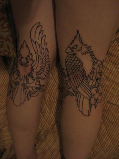 Done by Fred at Salvation in Richmond, Virginia.  These are on the backs of my knees; definitely the most painful spot I have been tattooed.  Going back in a few weeks to get them colored in!