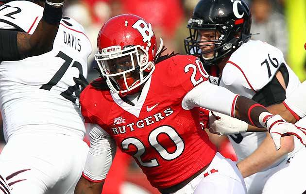PISCATAWAY, N.J. (May 17, 2012) – Rutgers senior linebacker Khaseem Greene (Elizabeth, N.J.) was named a preseason All-American today by Phil Steele's College Football Preview. Greene, the 2011 Co-BIG EAST Defensive Player of the Year, was one of 18 Scarlet Knights named to Steele's four All-BIG EAST teams as well. Greene finished with 141 tackles as a junior to lead the BIG EAST and ranked 12th nationally. He was the first BIG EAST Defensive Player of the Year in school history in his first year at linebacker for the Scarlet Knights. Steele's College Football Preview also listed five RU players on his All-BIG EAST First Team. In addition to Greene, RU's first team selections included senior defensive tackle Scott Vallone (Central Islip, N.Y.), senior linebacker Steve Beauharnais (Saddle Brook, N.J.), junior cornerback Logan Ryan (Berlin, N.J.) and junior kick returner Jeremy Deering (Tampa, Fla.). On Steele's All-BIG EAST Second Team included sophomore running back Savon Huggins (Jackson, N.J.), senior defensive back Duron Harmon (Magnolia, Del.) and sophomore offensive lineman Kaleb Johnson (Jacksonville, Fla.). Preseason third team picks for the Scarlet Knights were sophomore wide receiver Brandon Coleman (Accokeek, Md.), senior offensive tackle R.J. Dill (Mechanicsburg, Pa.), true freshman defensive tackle Darius Hamilton (West Paterson, N.J.) and senior punter Justin Doerner (Redondo Beach, Calif.). Rounding out the preseason selections for RU on the fourth team were sophomore running back Jawan Jamison (Starke, Fla.), senior wide receiver Mark Harrison (Stratford, Conn.), senior tight end D.C. Jefferson (Winter Haven, Fla.), junior center Dallas Hendrikson (St. Ansgar, Iowa), junior linebacker Jamal Merrell (Bear, Del.) and senior cornerback Brandon Jones (Sicklerville, N.J.). For more information on Rutgers Football, visit us on Facebook at www.Facebook.com/RFootballShow. Fans can also check out Rutgers Athletics on Facebook (www.Facebook.com/RutgersAthletics) and follow us on Twitter (@RUAthletics).