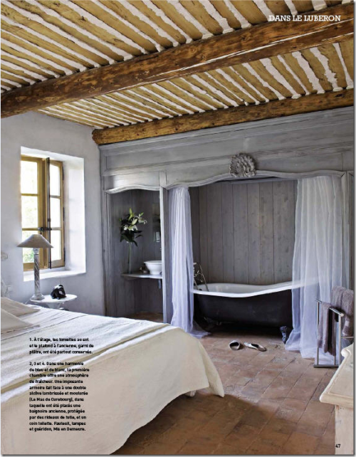 Alcove bathtub is concealed behind gauzy drapes in this French Country bedroom (via COTE DE TEXAS: Curtains - Top Ten #4)