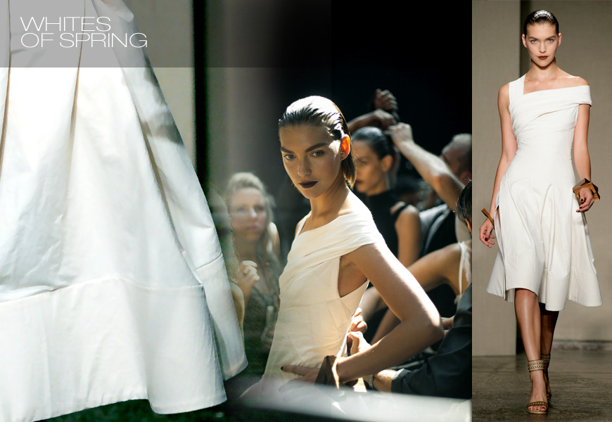 WHITES OF SPRING  This dress is like a blank canvas. A crisp ivory summer dress that is flirty, feminine and versatile. Pair back to flats for a more casual look, or dress it up as shown here. Every spring brings that one dress that sheds new light on everything. This is it. In cotton stretch canvas, its asymmetrical top hugs the torso before it gives way to a tented skirt suspended with volume that flatters the body.