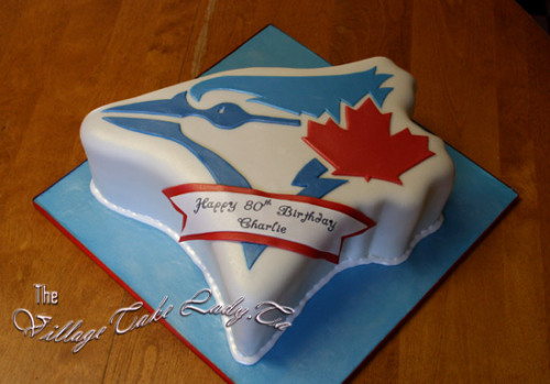 This is one awesome Blue Jays cake. Courtesy of The Village Cake Lady.