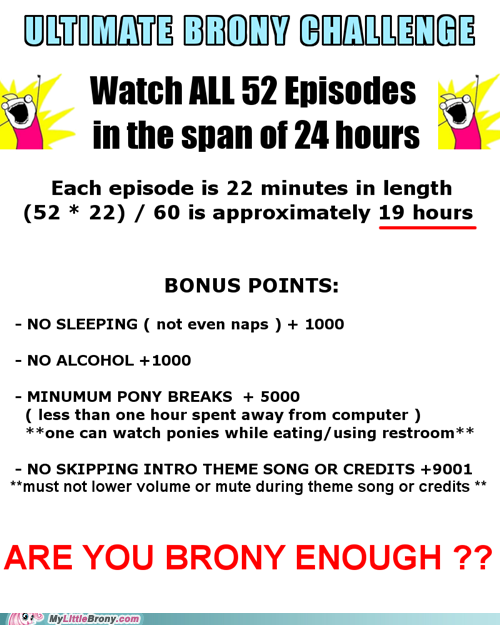 loquaciousrainbows:  I HAVE CHOSEN A DATE FOR THE ULTIMATE BRONY CHALLENGE. May 26, 2012 - May 27, 2012. I'll be starting in the afternoon/evening, Eastern Standard Time. I'll also be updating you lot on here and on Twitter. Feel free to follow the challenge!