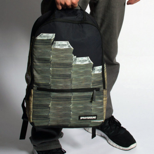 "inspirationfeed:  Money Stacks Backpack Sprayground The Money Stacks Backpack in Black,Bags (Messenger/Utility) for Unisex. The only thing you will get asked is, ""Where did you get your bag?"" Be prepared to carry in confidence! Buy $50.00"