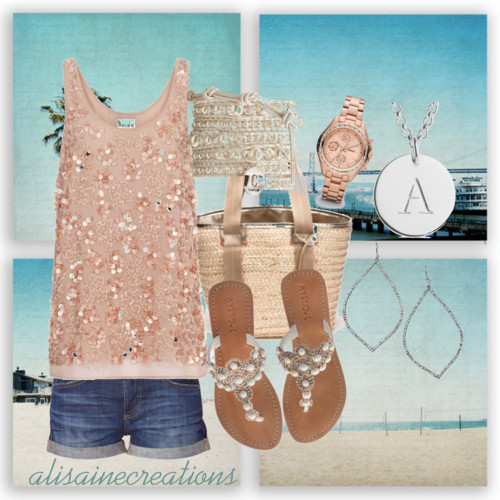 "beachlife by alisaine featuring woven handbagsReiss sleeveless shirt, $210AG Adriano Goldschmied vintage shorts, $220Mystique kitten heel sandals, €189Trina Turk woven handbag, $248Chan Luu engraved jewelry, $215Fossil jewelry, $155FOSSIL flower earrings, $44Jack Wills collar necklace, $30California Photography - teal, aqua, palm trees - ""Two For the Sun"" -…, $25"