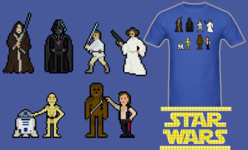 NEW Star Wars Pixel Characters T Shirt! Available in Mens, Womens, and Kids/Teen sizes. Follow Much Needed Merch on Tumblr and or Facebook (10% off code) Now - May 22nd get 10% off all kids/teens and baby items!