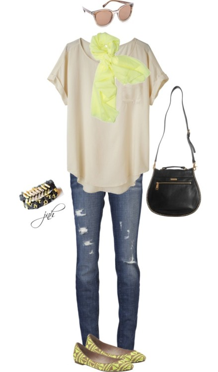 Neon Yellow Accents by jill-hammel featuring zipper jeans