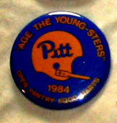 "A Pitt pin handed out before the 1984 game against BYU. ""Looked up in the sky, and saw the GoodYear Blimp and I knew this was a big game."""