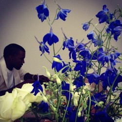 showstudio:  Kanye, delphiniums and rose. At SHOWstudio. @kanyewest @matthewmwilliams (Taken with instagram)