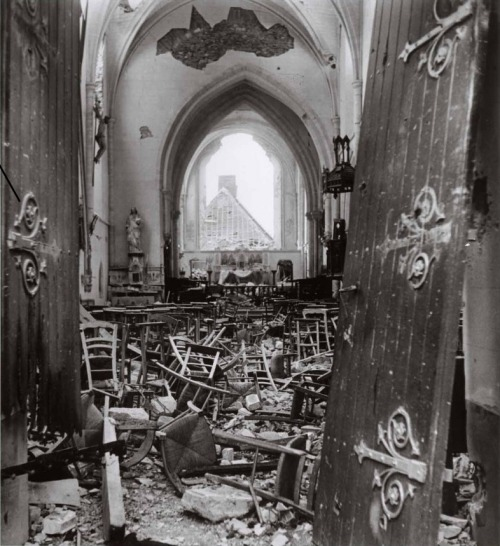 The ruins of a French church. Saint-Lô., France - June/July, 1944 (Photo by Robert Capa.)