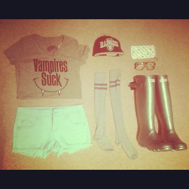 My #first #music #festival #outfit is ready #countdown #begins #hunters #kneehigh #socks vampires suck #tshirt #glasses #geek #snapback #blue #hot #pants #shorts #fashion #stylist always come prepared lol just under a month till love box !  (Taken with instagram)