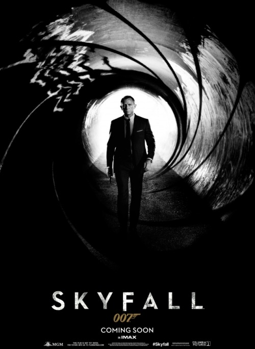 "'Skyfall': Daniel Craig's James Bond Goes Classic in New Poster The official 007 blog released the first teaser poster for Skyfall, which features Craig motionless in what appears at first glance to be the barrel of a gun, paying tribute to the Bond films of the past. But on closer evaluation, the ""barrel"" also gives hint to an underground drainage tunnel. Also notice that Bond isn't pointing his gun, instead he's front and center, as if he's the bullet in mid fire. The black and white composition gives the poster a very clean and stylistic feel…"