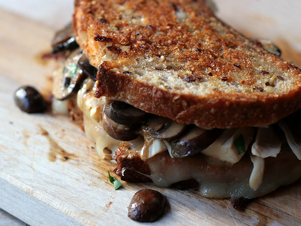 chicken, mushroom, and mozzarella grilled cheese.