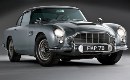The 1964 silver Aston Martin DB5 driven by Sean Connery as James Bond in Goldfinger