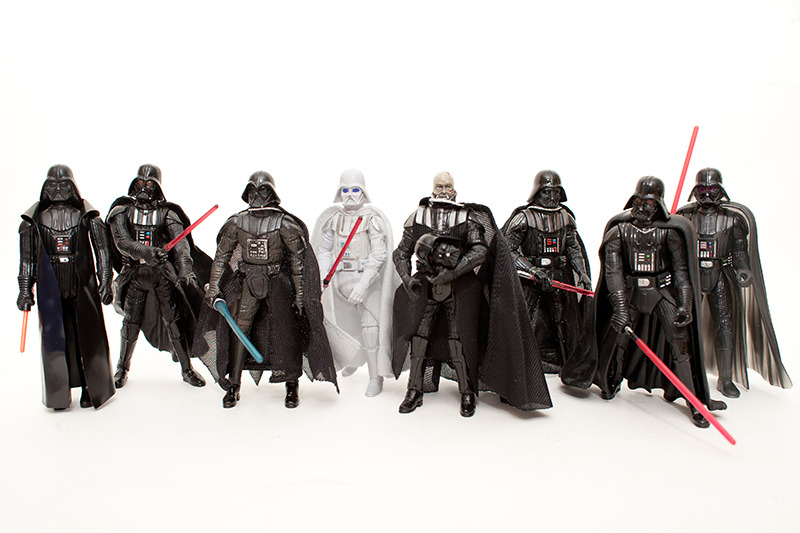 "Vader invasion! I bet you never thought to yourself, ""I wonder what 8 Darth Vaders would look like together. Well neither did I, but here you have it. From the left: Original release, Movie heroes, 30th Anniversary Concept, Comic Pack ""what if"" White Vader, Vintage collection, Saga collection, Celebration III & POTF Dagobah Vader."
