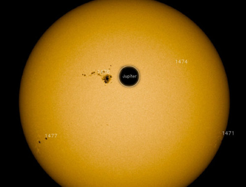 Monster Sunspot's Flare Strong Enough to Confuse Satellites  The flare triggered a radiation storm intense enough to also cause radio blackouts. ' keep reading Image: Sunspot AR 1476 compared to the size of Jupiter.  SDO/NASA (via Twitter @Camilla_SDO)