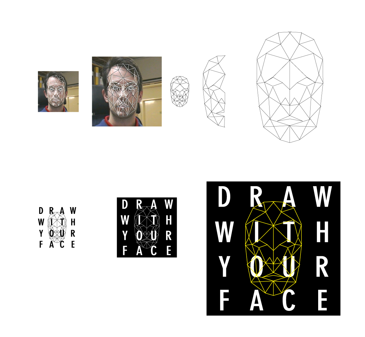 drawwithyourface:  Today we worked on some core design elements. Getting the logo figured out was fun. We wanted to exploit the fact that all the words in the title are four letters as well as figure out a way to incorporate a face. A face mesh taken from a pic found on google image search (http://www.lysator.liu.se/~eru/research/) was traced and simplified, and then overlaid on top of a heavily modified uppercase version of DIN font. The outcome is sort of old meets new, which we like.
