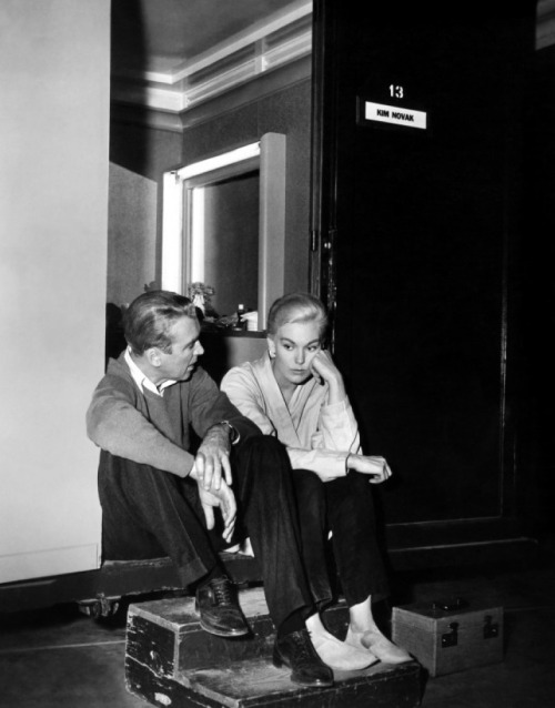 amy-blue:  Jimmy Stewart and Kim Novak take a break on-set of Vertigo (1958)