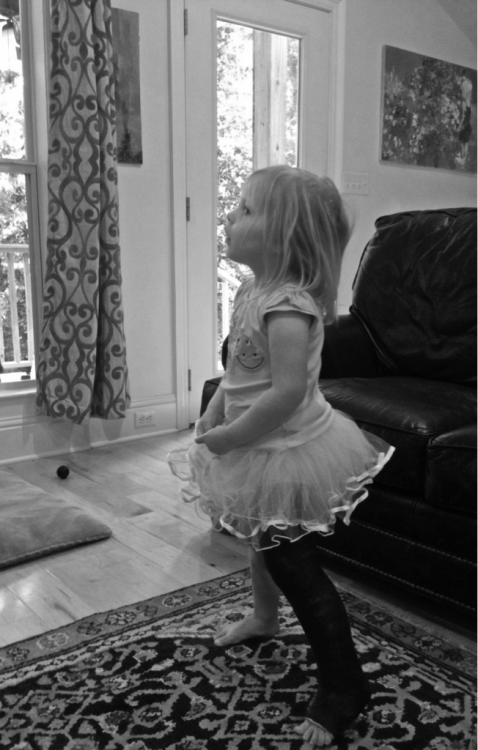 A tutu was the only thing she would agree to wear.