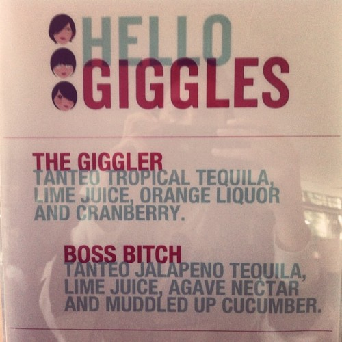 molls:  Guess who named the cocktails for tonight? (pic by @tatboyd) (Taken with instagram)  Not that I don't want to be a boss bitch, but I'd be gibbled on Gigglers if I could be there with y'allz. HAPPY GIGGLEVERSARY! Love my Giggz Fams!