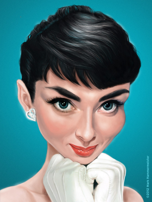 ugpeople:  Digital caricature of Audrey Hepburn. Painted in Photoshop.