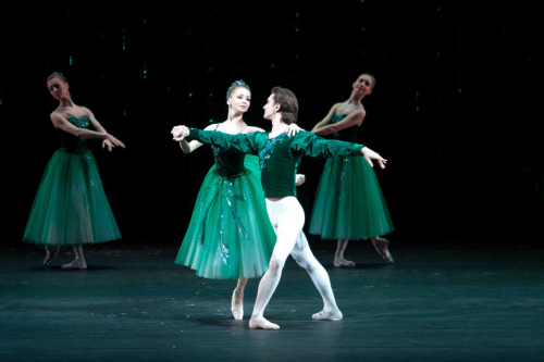 Evgenia Obraztsova and  Vladislav Lantratov in George Balanchine's Emeralds.  Photo by Elena Fetisova/Bolshoi Theatre. Choreography (c) George Balanchine Trust.
