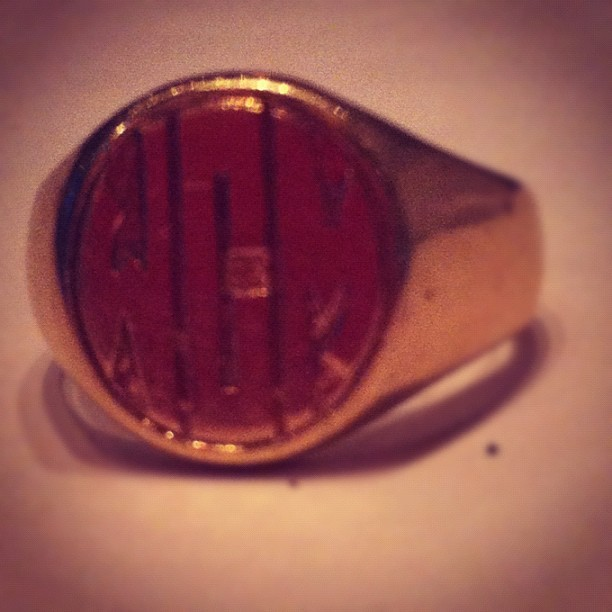 Trying on daddy's signet ring  (Taken with instagram)