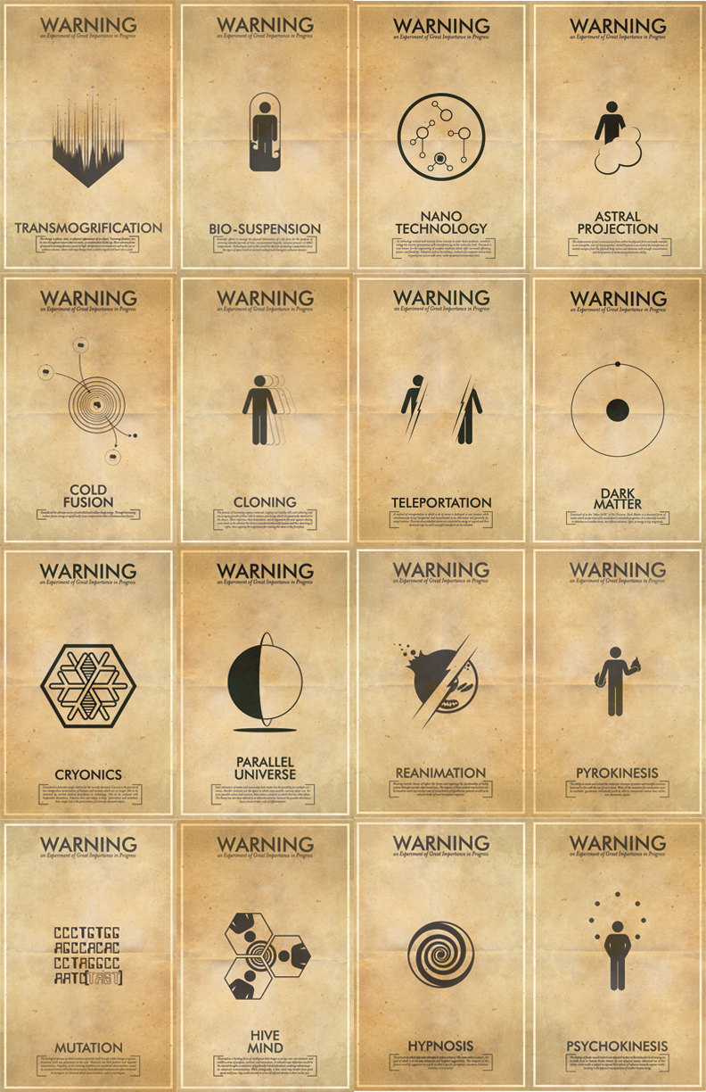 "Great collection of icons for science fiction and fringe science concepts. I think my favorite has to be teleportation. decaturjim:  Fringe Science  This listing is for the entire series of Fringe science experiment inspired iconography art prints. ""Warning: An Experiment of Great Importance in Progress."" Collect all your favorite Fringe science posters and show your friends and family that you believe in the future."