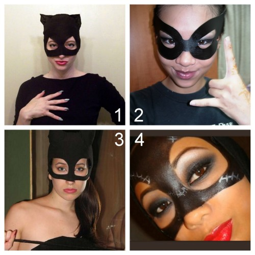 DIY Catwoman Mask Costume Tutorial. What I have found out: there are many different Catwoman looks, there aren't many tutorials on making Catwoman masks, and If you go to YouTube there are lots of DIY Catwoman video tutorials. First off go to this link for catwoman galeries, looks, history etc… diyfashion.about.com/od/costumes/qt/Catwoman_Costume This post is in response to a question by xxdanish:  By any chance do you know any good catwoman mask diy?   DIY Catwoman mask (About.com) here. DIY Paper Catwoman Mask (You Smile; I Smile) here. DIY Video Cat Woman Costume (Instructables) here. *Reader's photo DIY Catwoman Makeup Mask on YouTube with over 215,000 hits (angeec03 on YouTube) here.