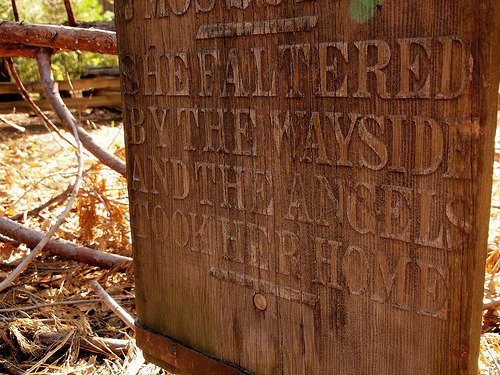 "Lovely: A visit to Yosemite Cemetery by rare book librarian Megan Curran, over on The Order of the Good Death.  By far the most beautiful grave in Yosemite Cemetery belongs to another teenager who succumbed to a fall. Effie Maud Crippen was aged ""14 years 7 mos 22 days"" according to her tombstone, when ""she faltered by the wayside and the angels took her home."""