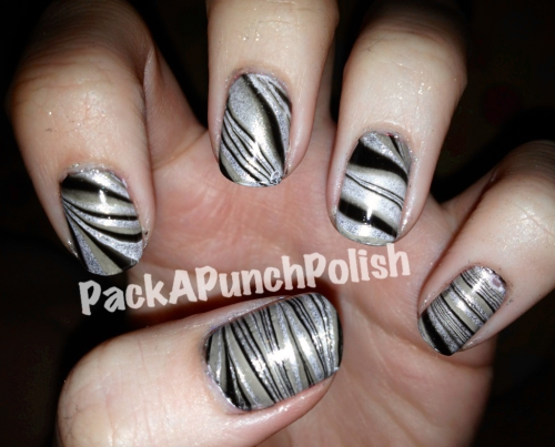 Silver and black water marble
